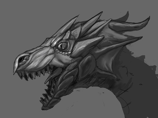 A concept drawing for a game about dragons. An idea about 2 years old