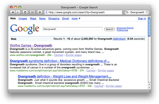 Overgrowth on Google