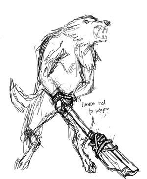 Usually wolves in Overgrowth don't use weapons