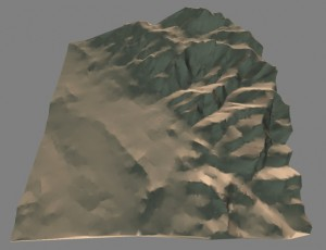 The berkeley hills rendered in our engine. Next up: How we managed to simplify this mesh so that it uses 20% as many polygons as a standard height map.